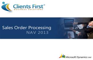 NAV 2013 Sales Order Processing