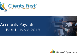 NAV 2013 R2 Accounts Payable Training Demo Part II