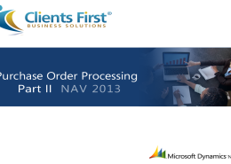 NAV 2013 R2 Purchase Order Processing