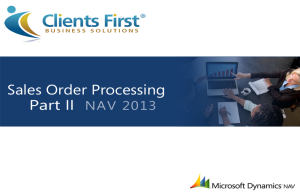 NAV 2013 R2 Sales Order Processing Demo Part II
