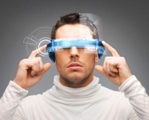 businessman with digital glasses