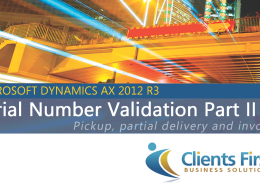 Dynamics AX Training Serial Number AX 2012 R3