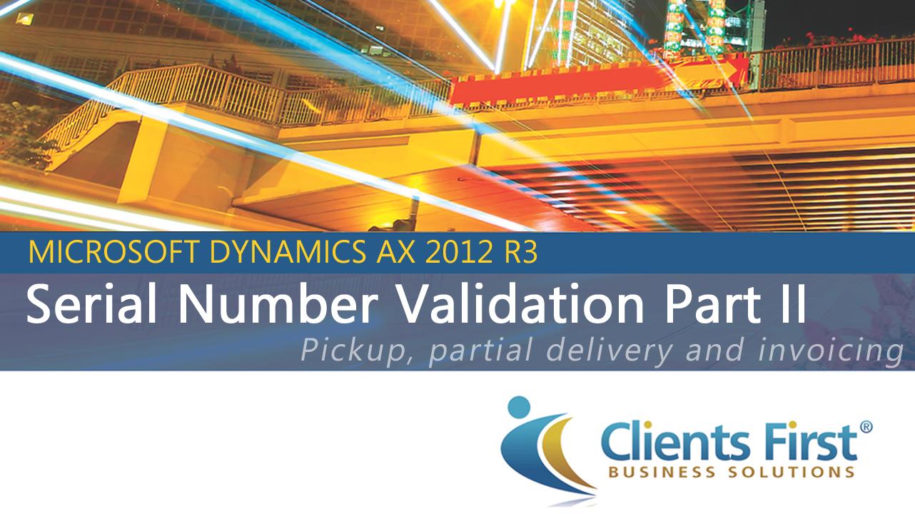 Dynamics AX Training Serial Number AX 2012 R3