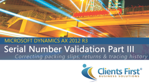 Dynamics AX Training Serial Number Validation