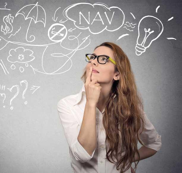 Woman contemplating price of NAV