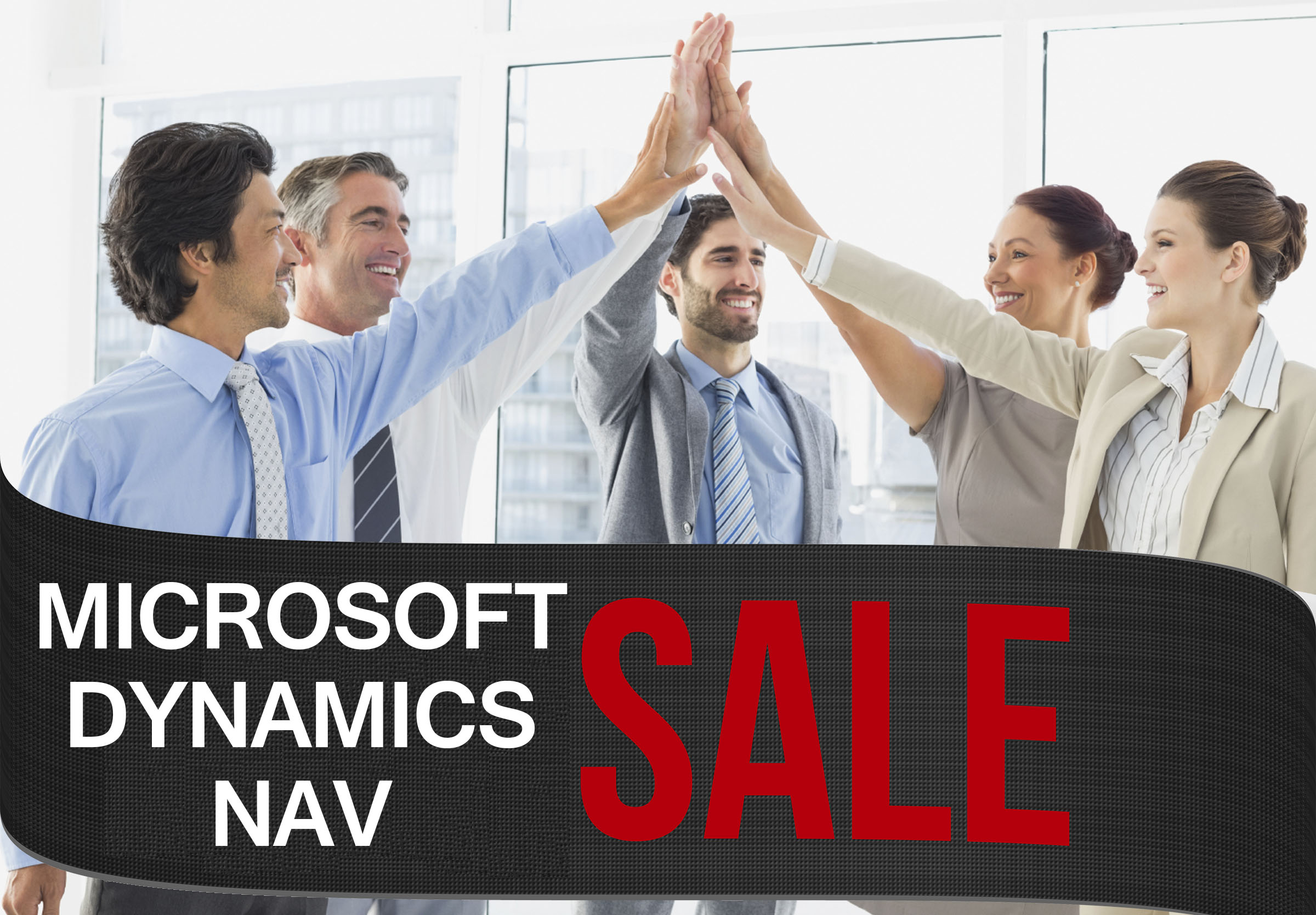 Business people celebrating Dynamics NAV is on sale