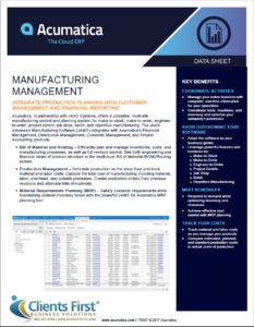 Acumatica Manufacturing Management
