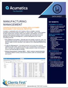 Acumatica Manufacturing Management