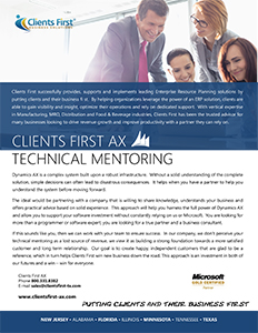 Clients First Texas offers Dynamics AX technical mentoring