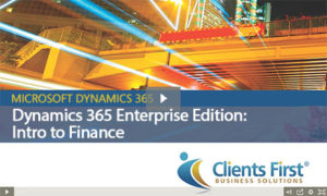 Dynamics 365 Enterprise Intro to Finance