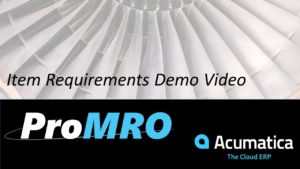 Item Requirements for the MRO