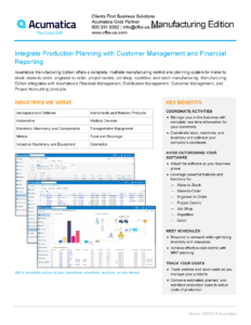 Acumatica Manufacturing Software