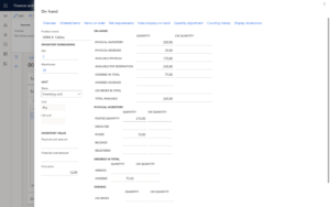 inventory look up dynamics 365